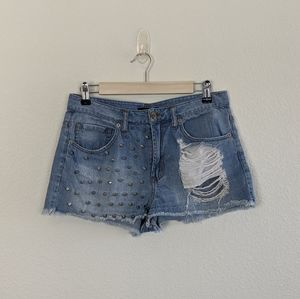 Forever 21 Distressed Stud Denim Cut Off Shorts